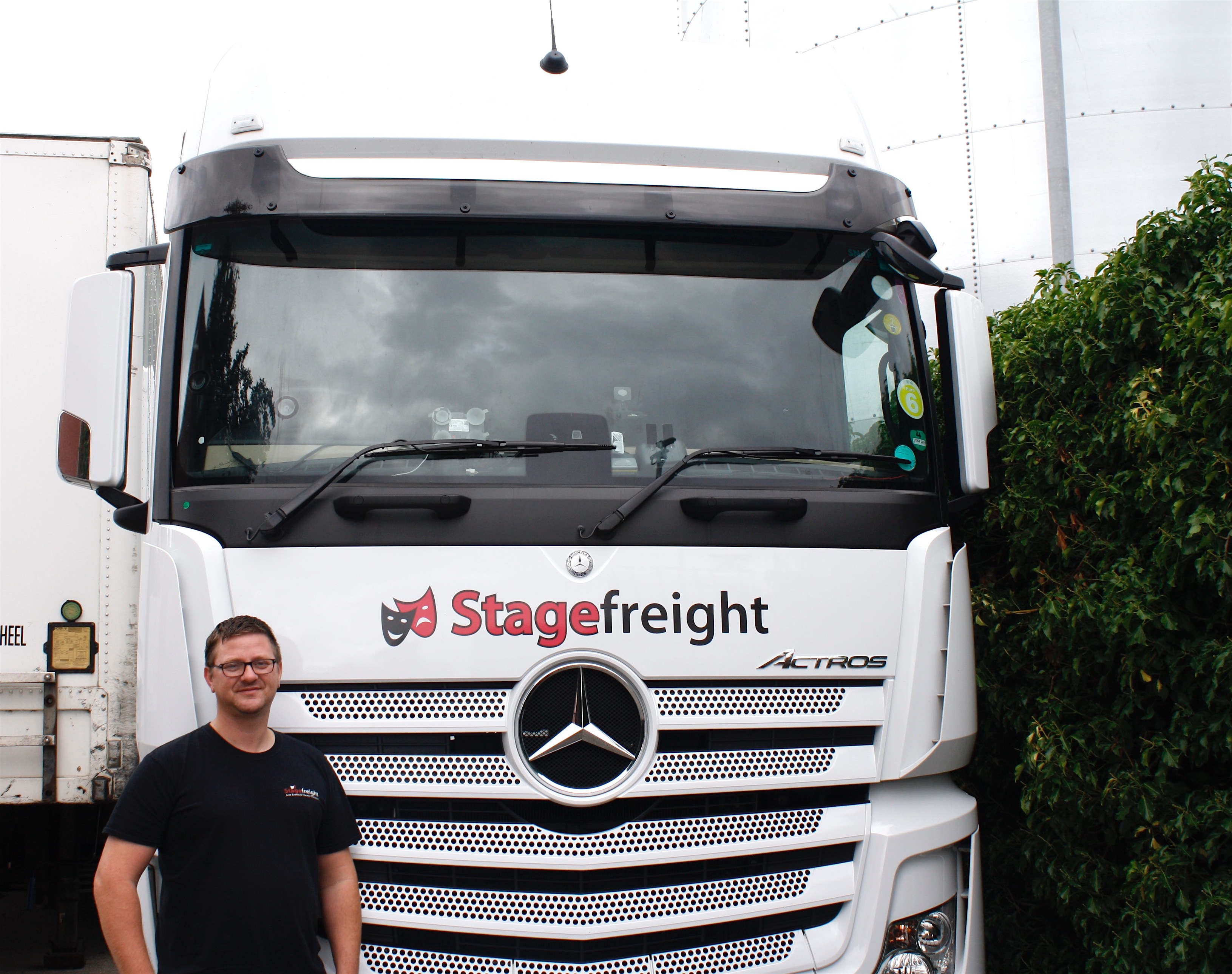 Stagefreight driver ant hayes with his truck