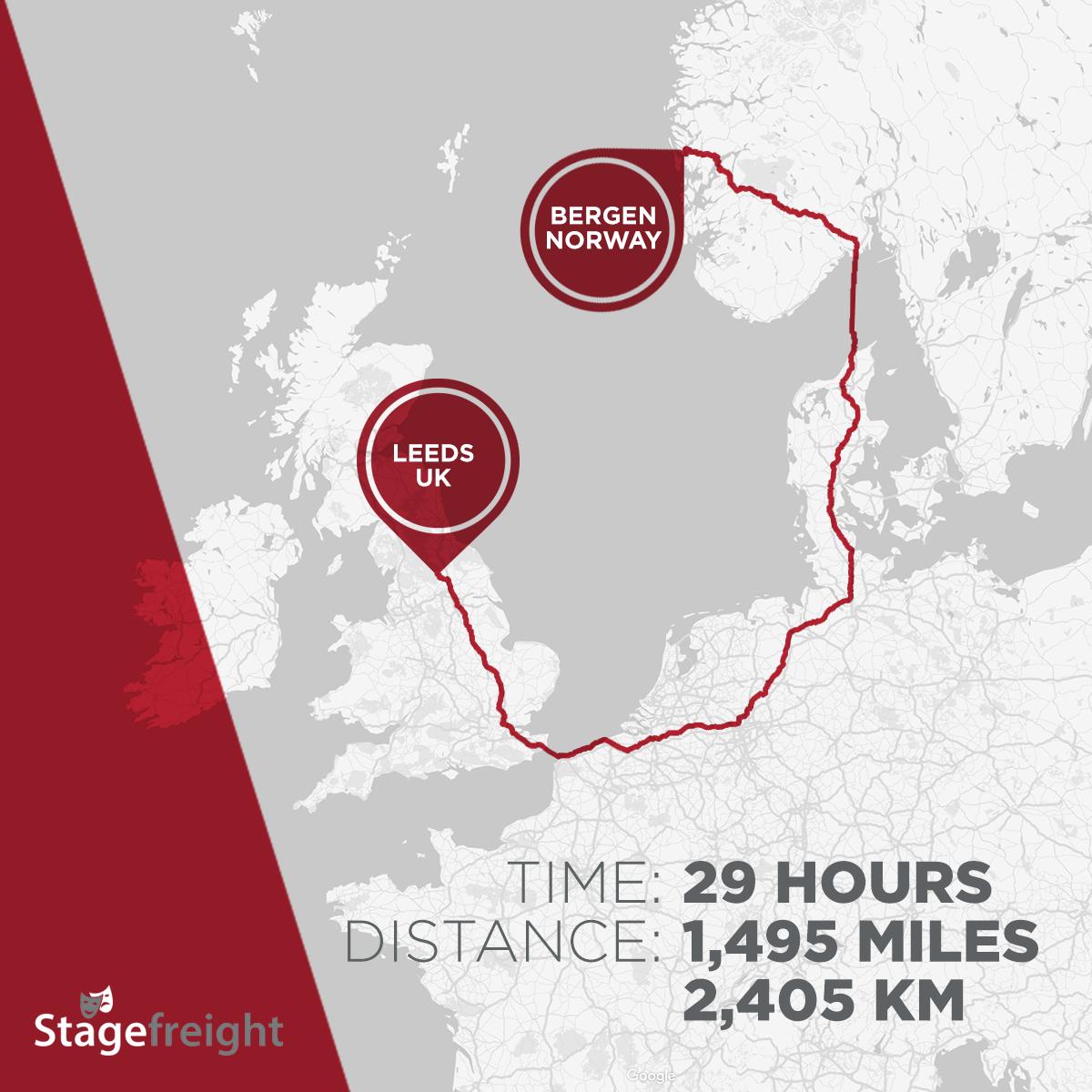 Bergen stage trucking route Stagefreight