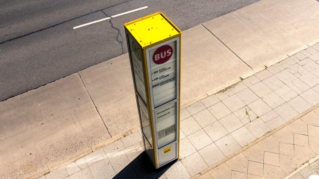 bus stop on pavement