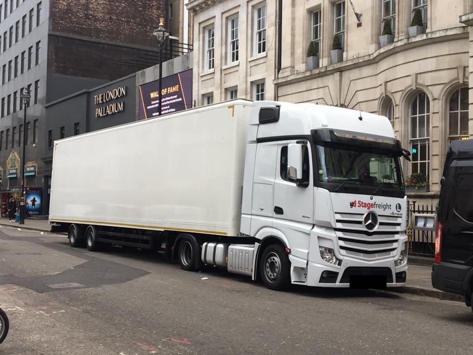 Stagefreight truck outside London Palladium