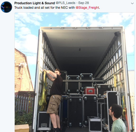 Stagefreight truck load with Production Lighting and Sound