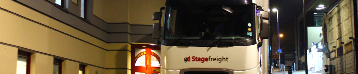 stagefreight truck outside Alhambra Theatre Bradford