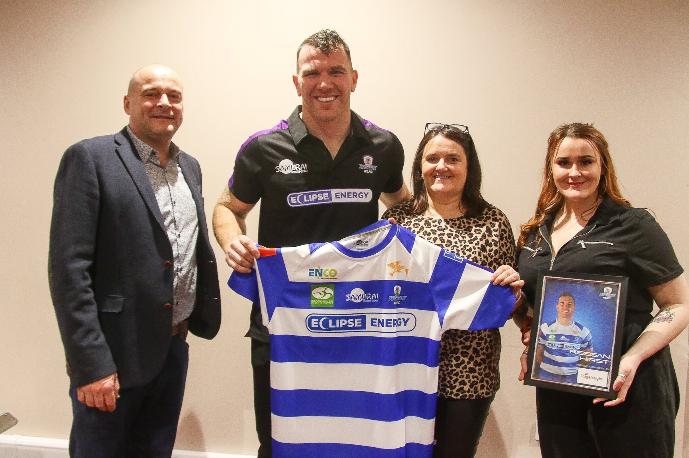 Stagefreight's Ian Uttley and Keegan Hirst from Halifax RLFC