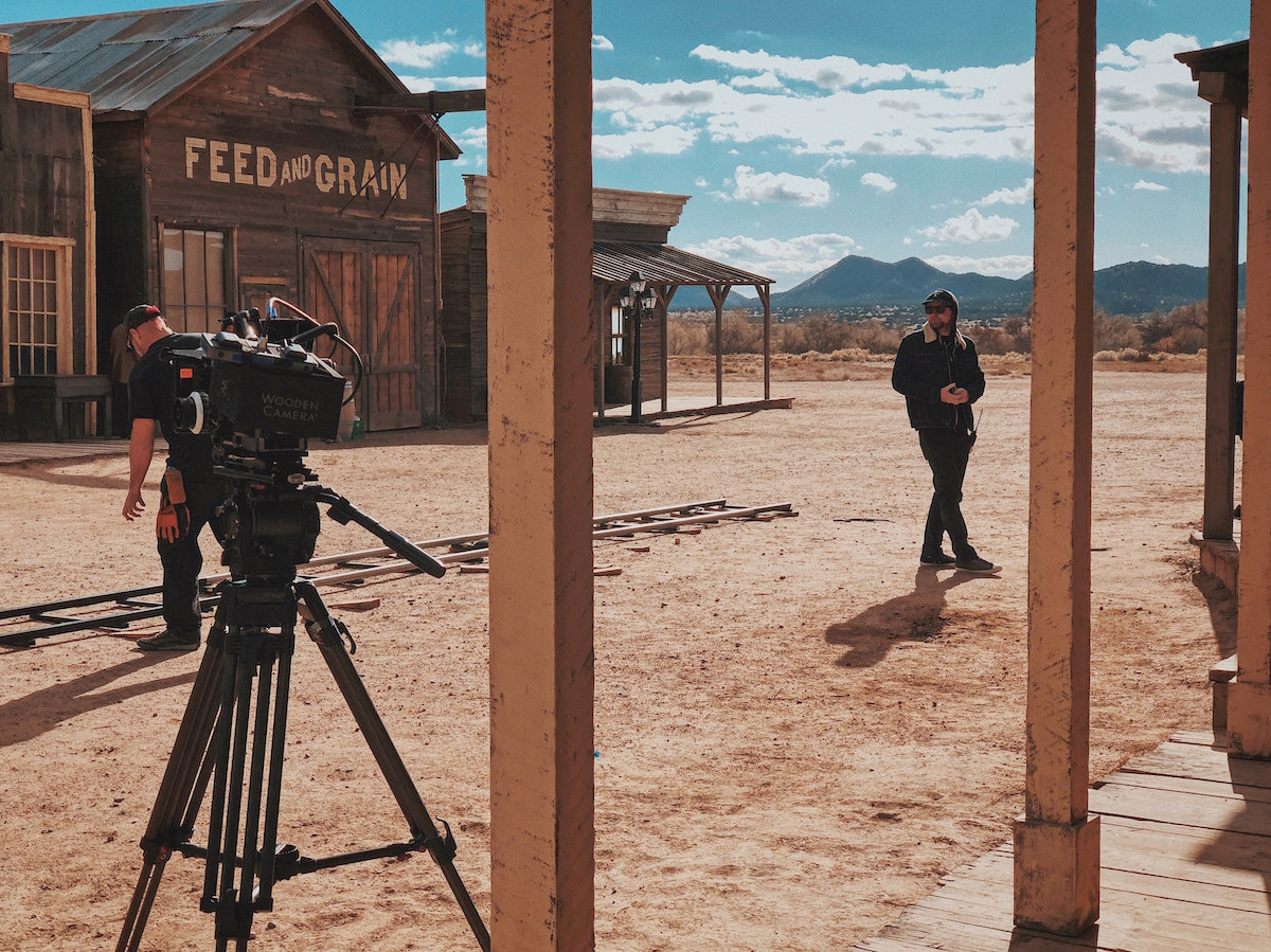 wild west film set with camera and crew